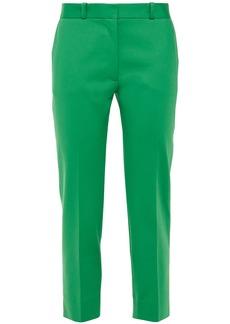 Joseph Woman Bing Court Cropped Cotton-blend Straight-leg Pants Green