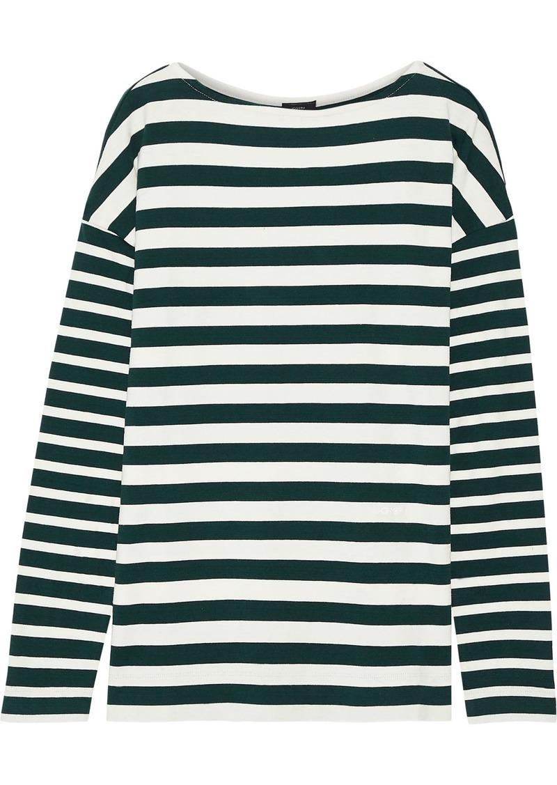 Joseph Woman Breton Striped Cotton-jersey Top Dark Green