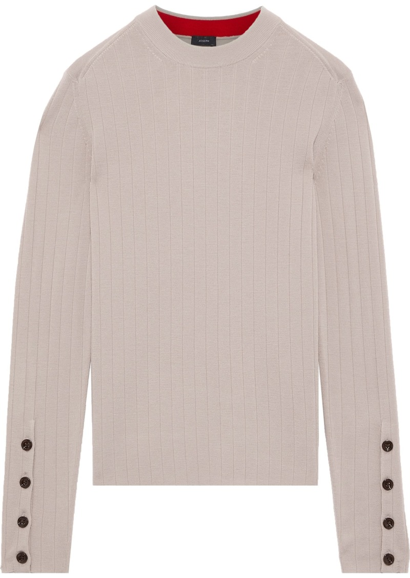 Joseph Woman Button-detailed Ribbed Merino Wool Sweater Neutral