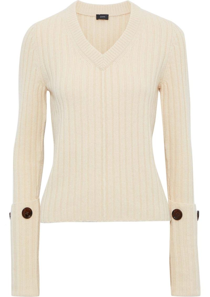 Joseph Woman Button-embellished Ribbed Wool Sweater Ecru