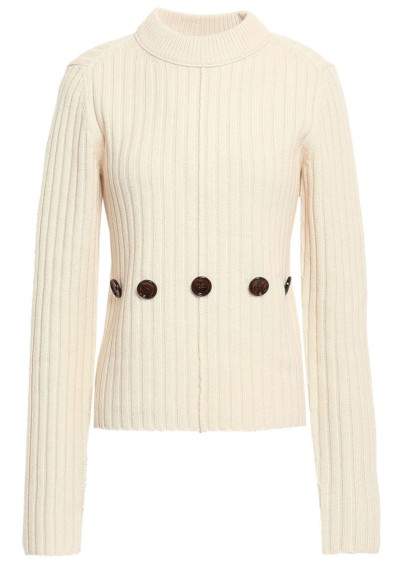 Joseph Woman Button-detailed Ribbed Wool Sweater Cream