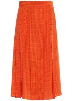 Joseph Woman Charlie Pleated Houndstooth Silk Crepe De Chine Midi Skirt Bright Orange