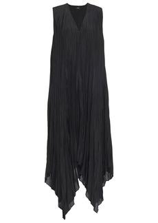 Joseph Woman Checker Asymmetric Plissé Silk-habotai Midi Dress Black