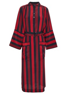 Joseph Woman Chester Belted Striped Silk Crepe De Chine Midi Dress Red