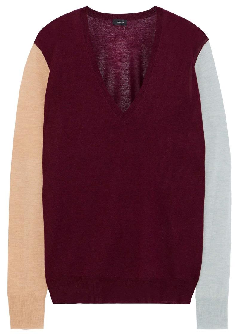 Joseph Woman Color-block Slub Cashmere Sweater Burgundy