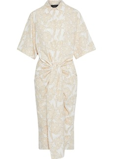 Joseph Woman Cooper Tie-front Floral-print Cotton-poplin Shirt Dress Ecru
