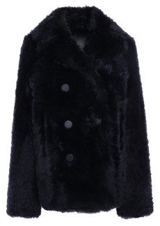 Joseph Woman Double-breasted Shearling Coat Navy