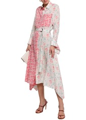 Joseph Woman Cyprien Belted Floral-print Silk Crepe De Chine Midi Shirt Dress Off-white