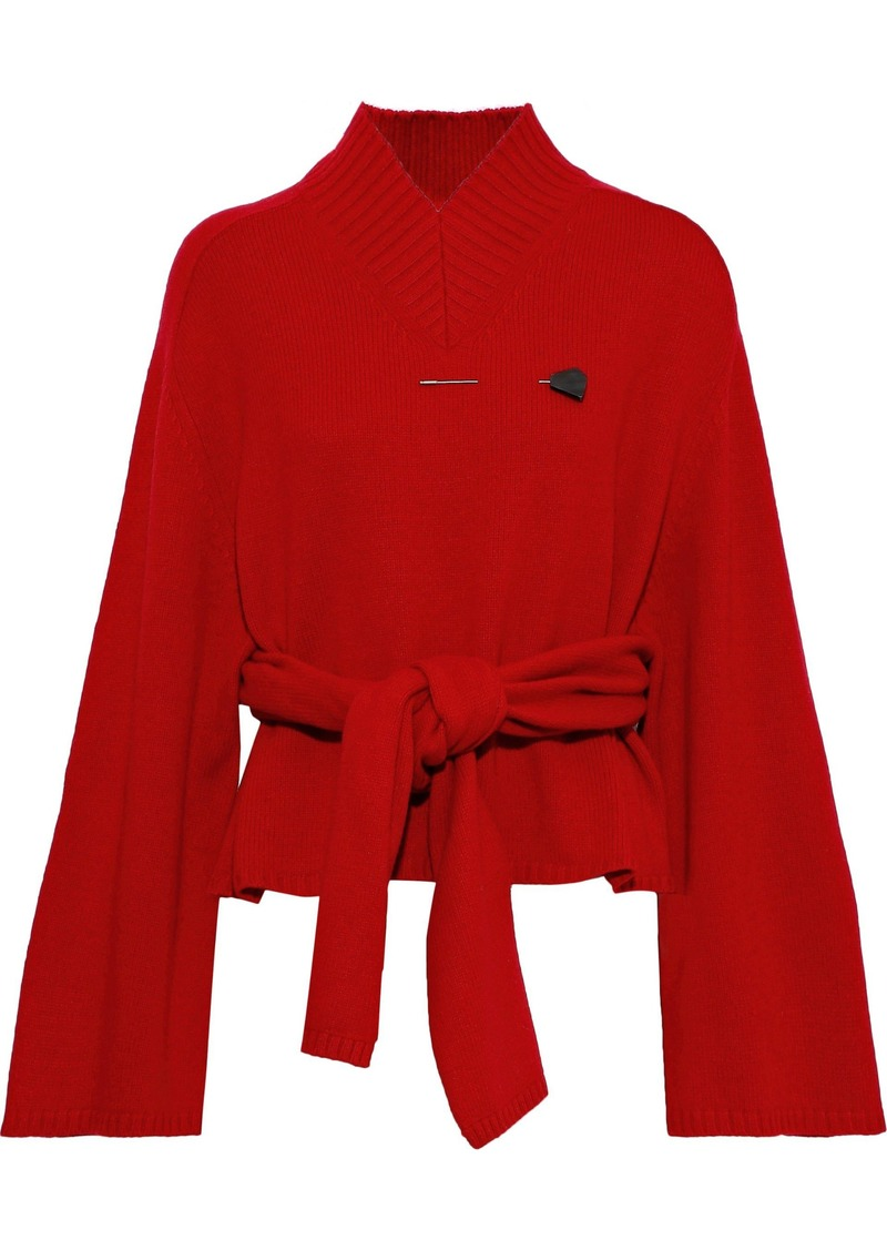 Joseph Woman Embellished Knotted Wool Sweater Red