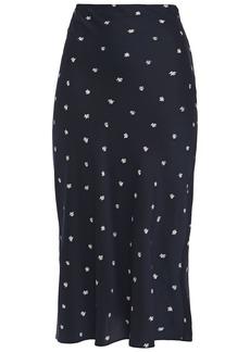 Joseph Woman Frances Printed Silk-twill Midi Skirt Midnight Blue