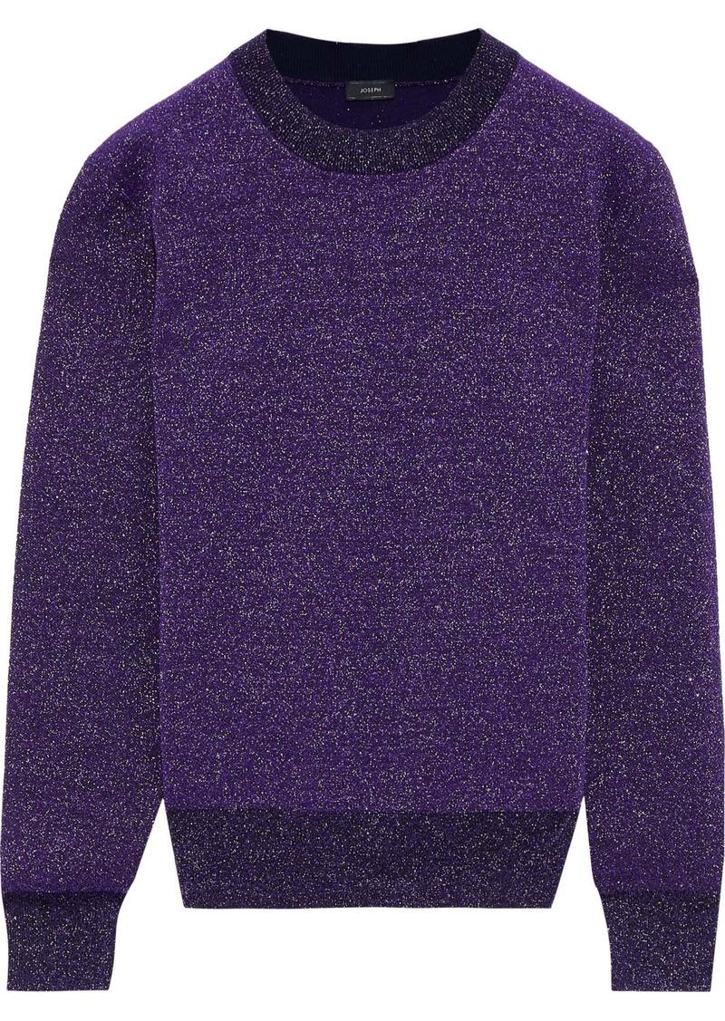 Joseph Woman Glittered Wool-blend Sweater Violet