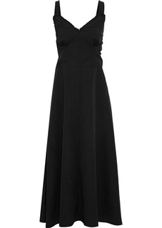 Joseph Woman Greer Open-back Silk-paneled Crinkled-crepe Midi Dress Black