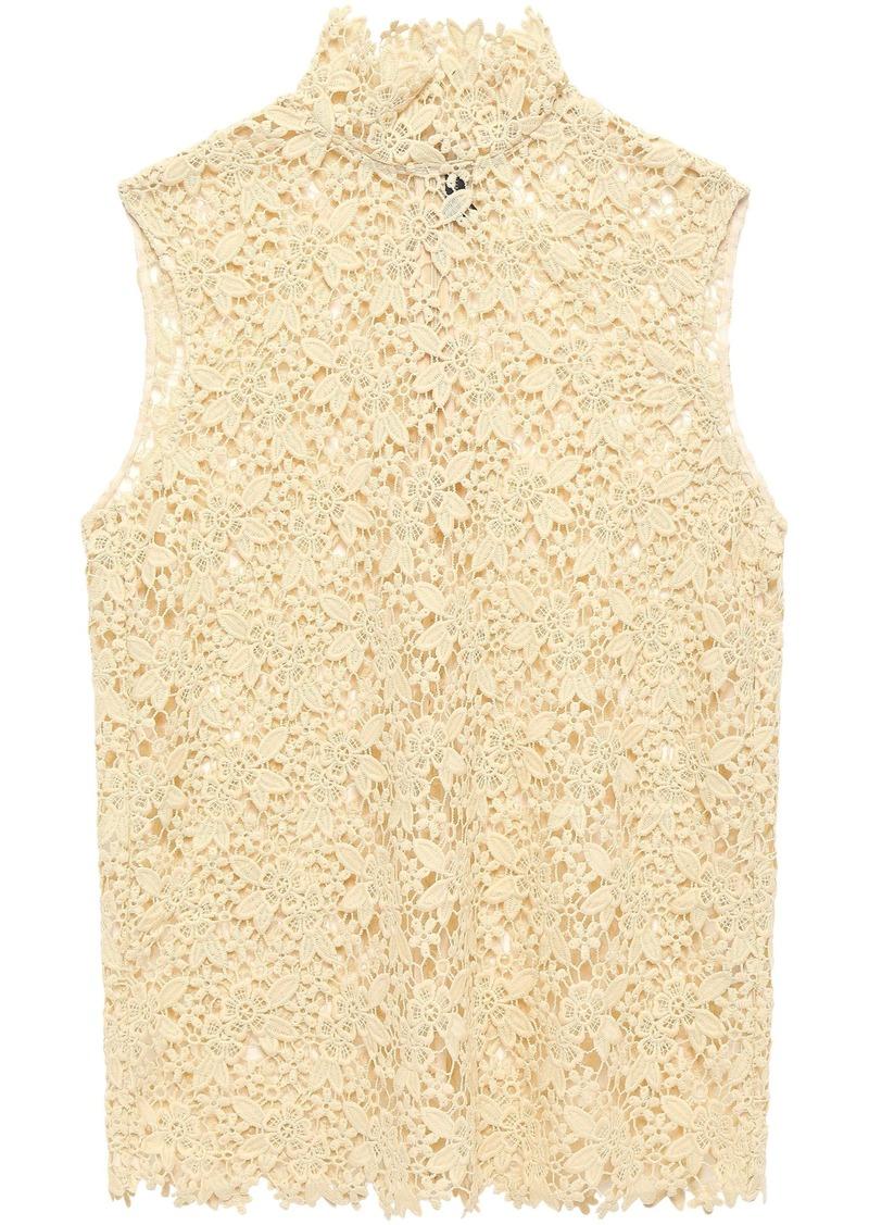 Joseph Woman Court Guipure Lace Turtleneck Top Pastel Yellow
