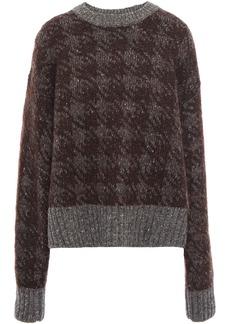 Joseph Woman Houndstooth  Jacquard-knit Wool-blend Sweater Chocolate