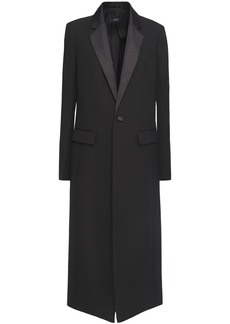 Joseph Woman Jan Satin-trimmed Wool Coat Black