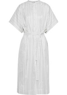 Joseph Woman Jasper Belted Striped Silk-broadcloth Midi Shirt Dress Ivory
