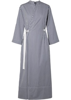 Joseph Woman Laury Striped Cotton-poplin Midi Wrap Dress Navy