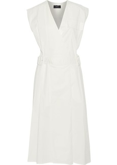 Joseph Woman Logan Stretch-cotton Poplin Midi Wrap Dress Off-white