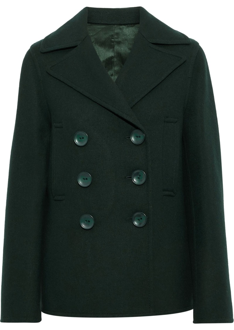 Joseph Woman New Hector Double-breasted Wool-blend Felt Coat Forest Green