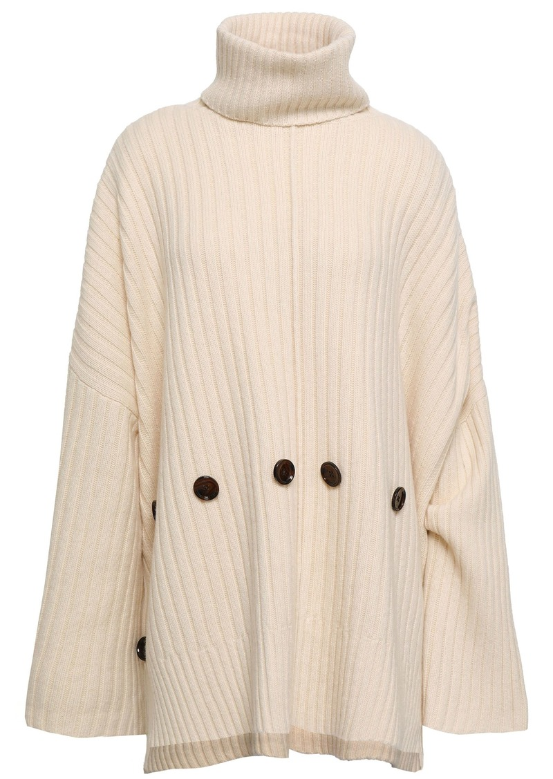 Joseph Woman Button-detailed Ribbed Wool Turtleneck Sweater Ivory