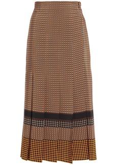 Joseph Woman Pleated Printed Silk Crepe De Chine Midi Skirt Brown