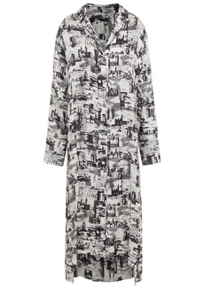 Joseph Woman Printed Satin-twill Midi Shirt Dress Black
