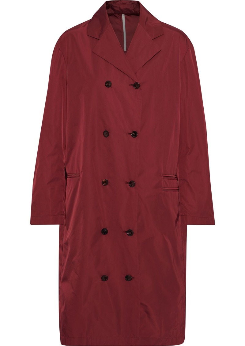 Joseph Woman Richter Double-breasted Satin-shell Coat Claret