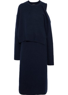 Joseph Woman Robin Cutout Layered Cashmere Midi Dress Navy