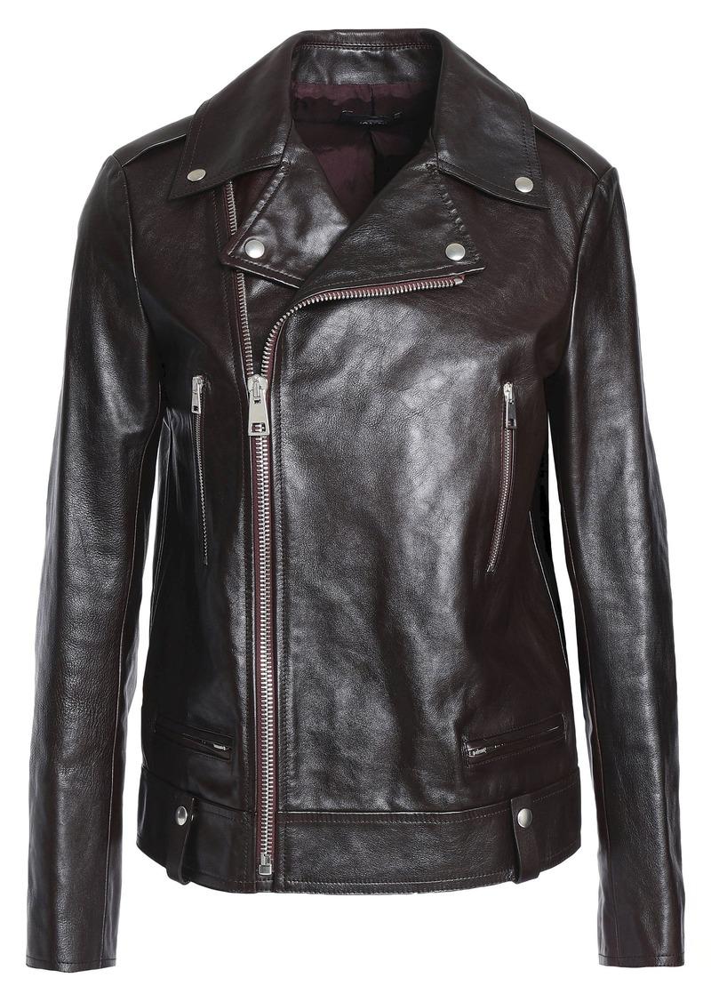 Joseph Woman Ryder Leather Biker Jacket Merlot
