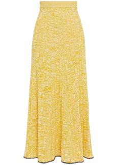 Joseph Woman Sally Mélange Ribbed-knit Midi Skirt Yellow