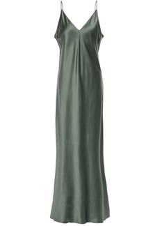 Joseph Woman Silk-satin Maxi Slip Dress Grey Green