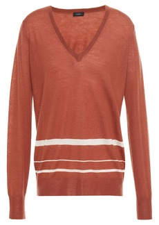 Joseph Woman Striped Cashmere-blend Sweater Brick