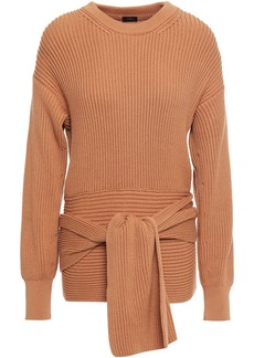 Joseph Woman Tie-front Ribbed Cotton Sweater Light Brown