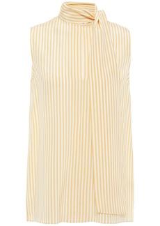 Joseph Woman Tie-neck Striped Silk Crepe De Chine Top Mustard