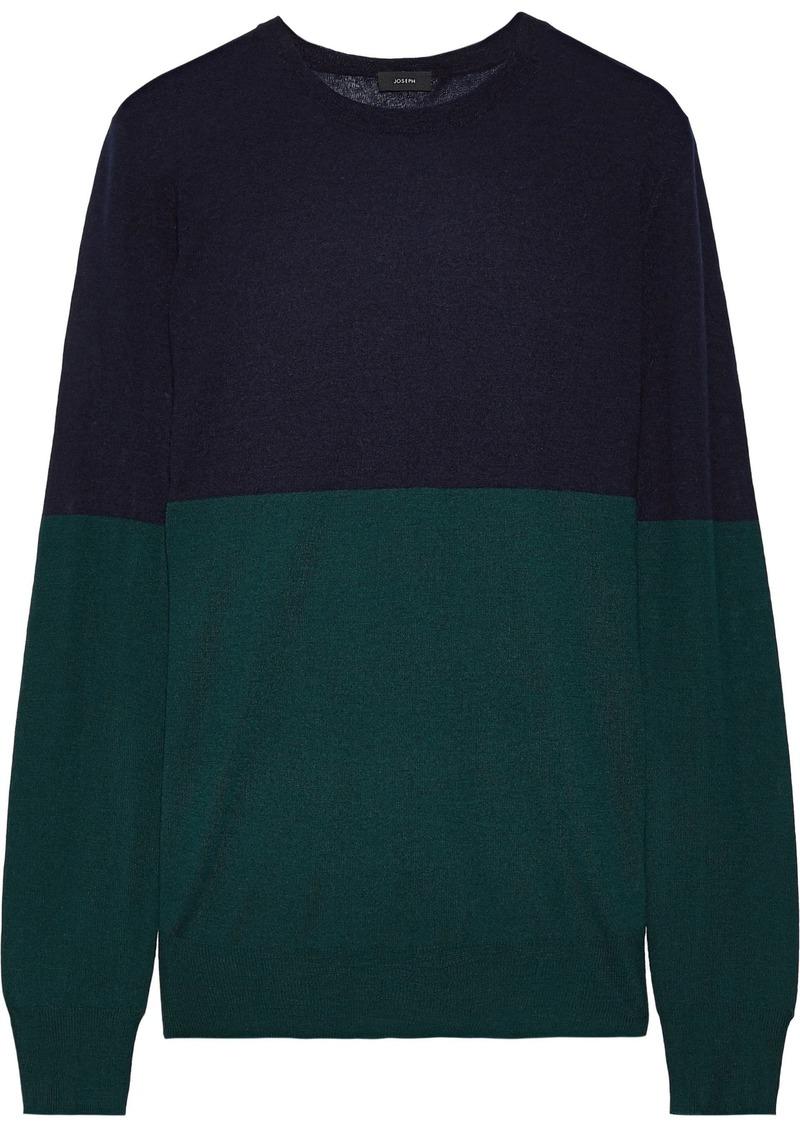 Joseph Woman Two-tone Cashmere Sweater Navy
