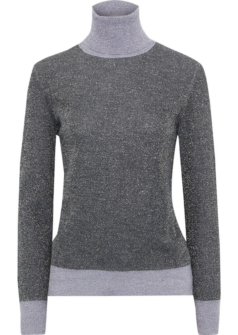 Joseph Woman Two-tone Metallic Merino Wool-blend Turtleneck Sweater Dark Gray