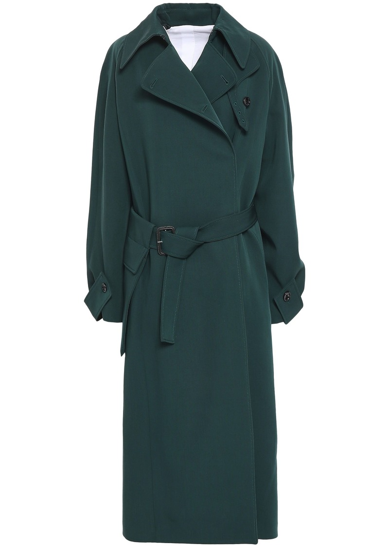 Joseph Woman Wool-gabardine Trench Coat Dark Green