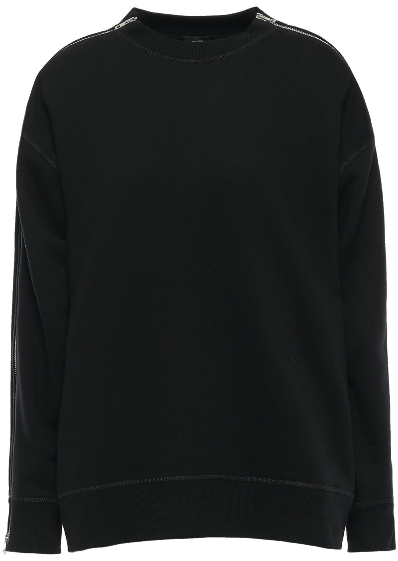 Joseph Woman Zip-detailed French Cotton-terry Sweatshirt Black