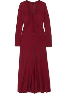 Joseph Marlene Gathered Crepe De Chine Midi Dress