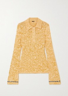 Joseph Mélange Ribbed-knit Polo Shirt