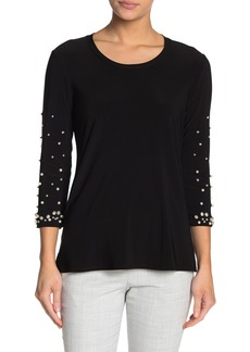 Joseph Mock Pearl Embellished 3/4 Sleeve Top