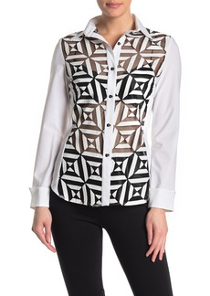 Joseph Novelty See-Through Button Down Blouse