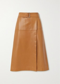 Joseph Salic Belted Leather Midi Skirt