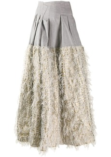 Jourden faux-feather embellished skirt
