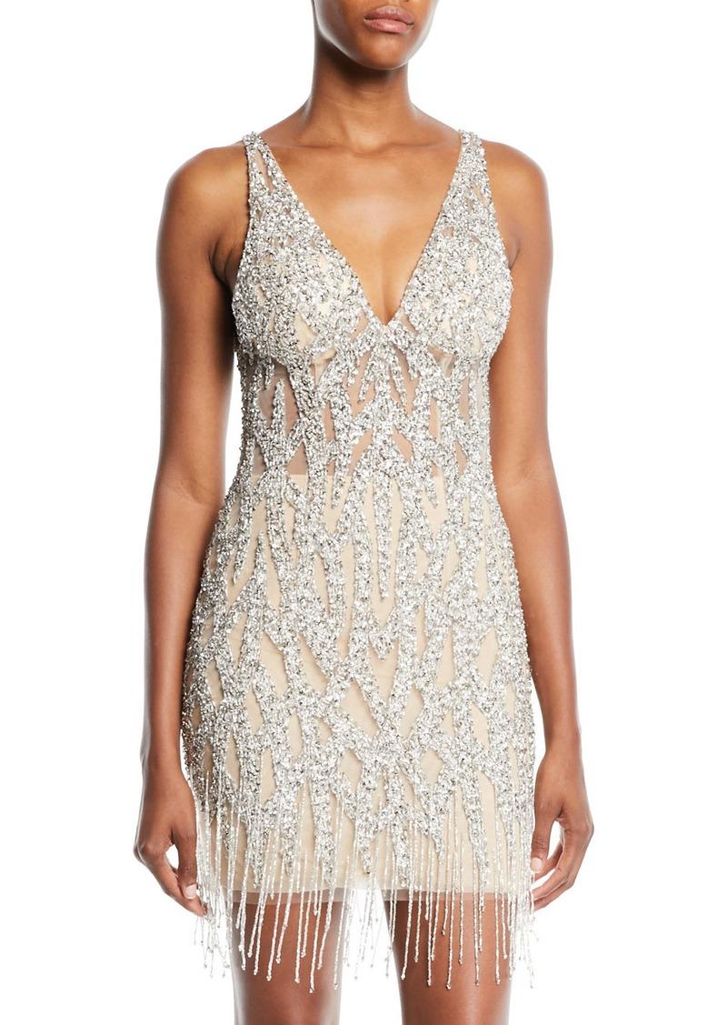 Jovani Beaded Mini Cocktail Dress w/ Fringe Hem