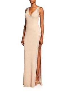 Jovani Beaded V-Neck Side-Slit Jersey Gown