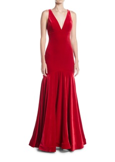 Jovani Deep V-Neck Open-Back Velvet Trumpet Gown