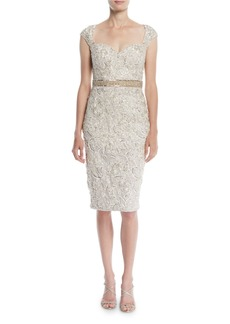 Jovani Embellished Lace Cocktail Dress w/ Beaded Waist