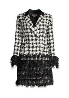 Jovani Feather & Houndstooth Jacket Cocktail Dress