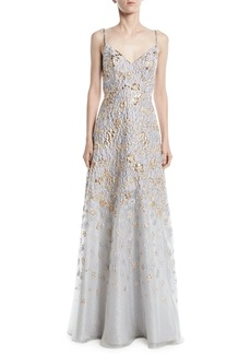 Jovani Floral Embroidered Gown w/ Open Back